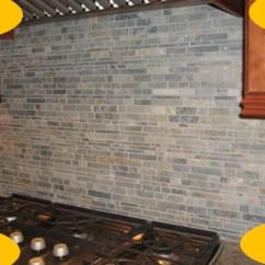 Stacked Stone Kitchen Backsplash Upper Cabinets With Glass Doors Tile