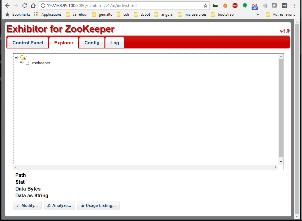 Exhibitor zookeeper explorer interface