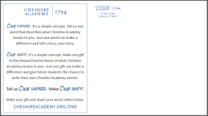 one word. one gift. annual fund cheshire academy