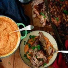 Crusty Crock Pot Pork over Pumpkin Polenta
