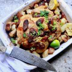 Roasted Chicken and Sausage with Gremolata, recipe by stacy lyn harris