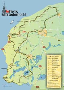 Fiets Elfstedentocht route