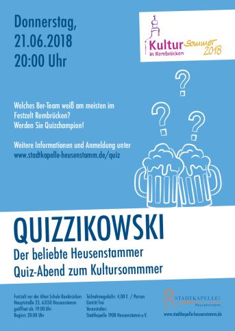 Plakat Ankündigung Quizzikowski am 21.06.2018