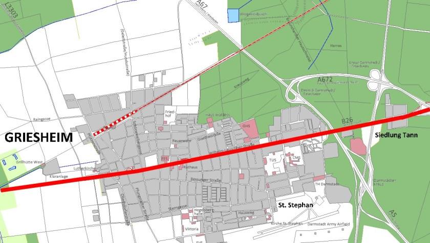 Griesheim in den 1980er Jahtren. Rot markiert die Durchgangsstraße mitten durch den Ort.