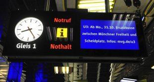 SWM MVG Baustelle ab 31.10 auf der U3 zwischen Münchner Freiheit und Scheidplatz, Informationen in den U-Bahnhöfen Foto: Marcus Schlaf, 24.10.2016