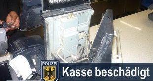 Kasse bei Burger King demoliert Quelle Foto Bundespolizei