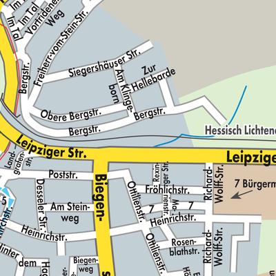 Karte von Hessisch Lichtenau  Stadtplandienst Deutschland