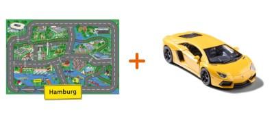 Combideal: stadtspielteppich Hamburg und Lamborghini Aventador Gelb
