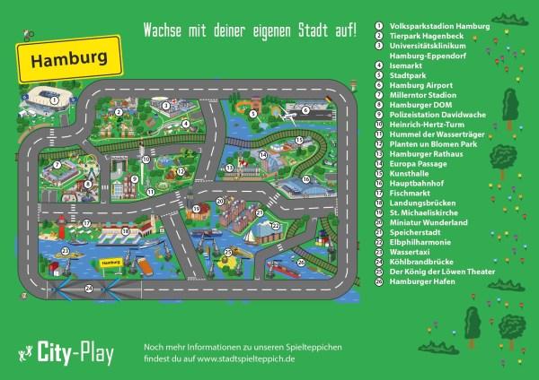 Stadtspielteppich Hamburg Plan
