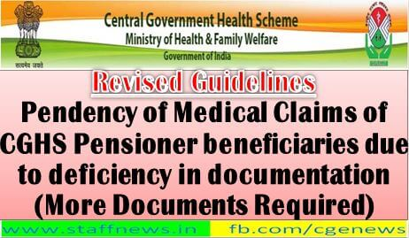Pendency of Medical Claims of CGHS Pensioner beneficiaries due to deficiency in documentation