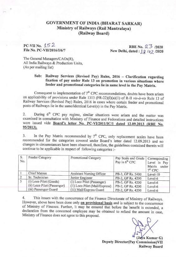 Railway Services (Revised Pay) Rules, 2016 – Clarification regarding fixation of pay under Rule 13 on promotion in various situations