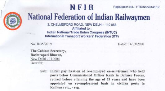 Initial pay fixation of re-employed ex-servicemen retired before attaining the age of 55 years appointed in Railways: NFIR