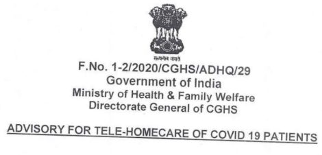 tele-homecare of COVID-19 patients : Detailed Guidelines by CGHS