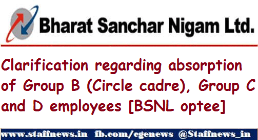 Clarification regarding absorption of Group B (Circle cadre), Group C and D employees [BSNL optee]