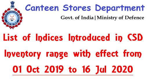 List of Indices Introduced in CSD Inventory range with effect from 01 Oct 2019 to 16 Jul 2020