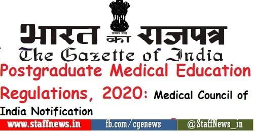 Postgraduate Medical Education Regulations 2020: Medical Council of India Notification