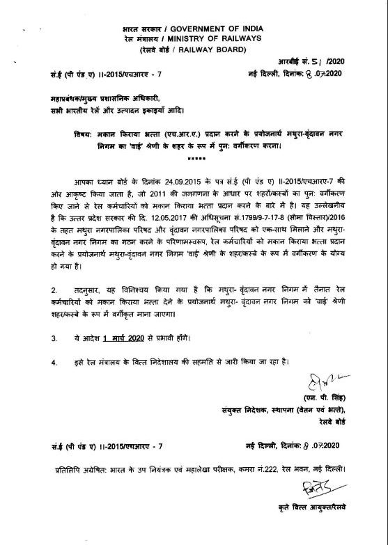 Re-classification of Mathura-Vrindavan as 'Y' class city for HRA to the Railway employees