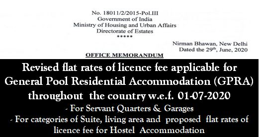 Revision of flat rate of licence fee for General Pool Residential Accommodation (GPRA): Directorate of Estates Order 07.07.2020