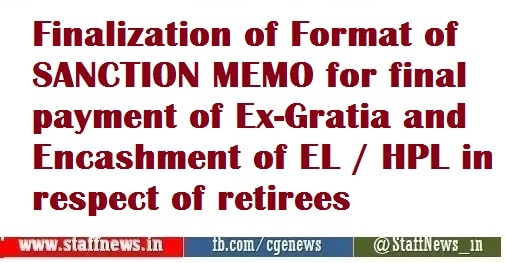 BSNL VRS-2019: Finalization of Format of SANCTION MEMO for final payment of Ex-Gratia and Encashment of EL / HPL in respect of retirees