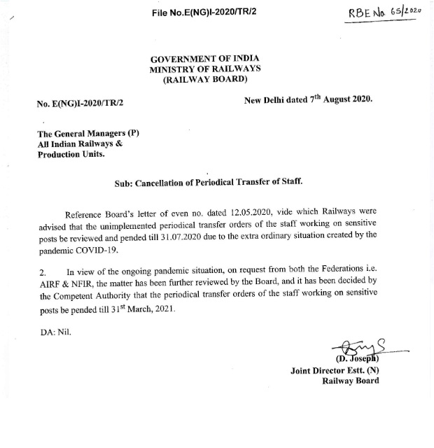 Cancellation of Periodical Transfer of Staff – Railways Board – RBE.No. 65/2020