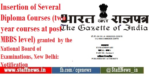 Insertion of Several Diploma Courses (two year courses at post MBBS level) granted by the National Board of Examinations, New Delhi: Notification