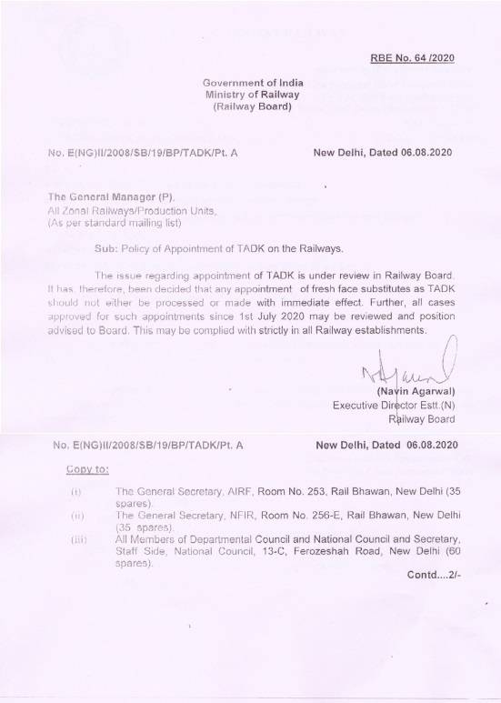 Policy of Appointment of TADK on the Railways: RBE No. 64 /2020