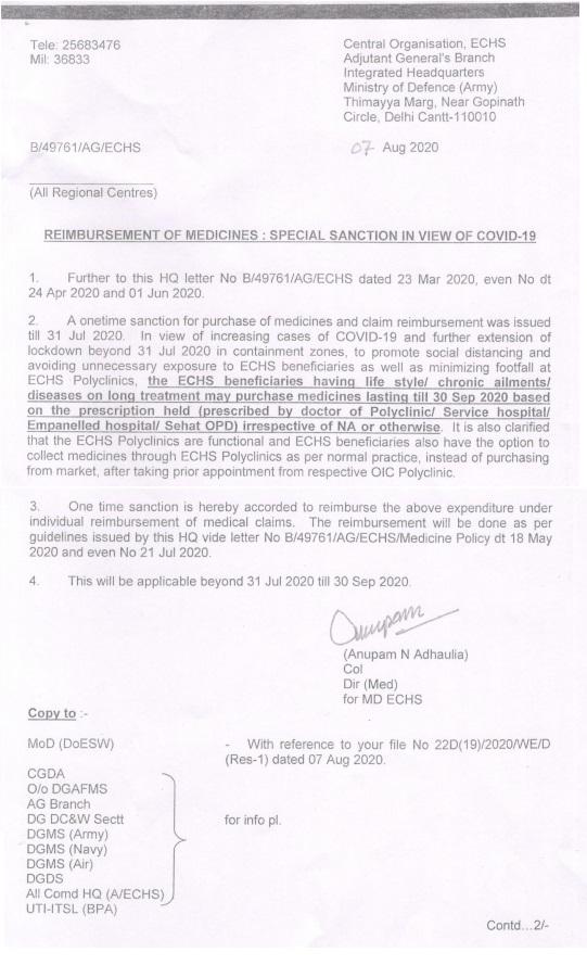 Reimbursement of Medicines: Special Sanction in view of Covid-19 – ECHS