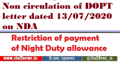 Restriction of payment of Night Duty allowance to the Central Government staff whose basic pay is Rs.43,600 or less – AIRF