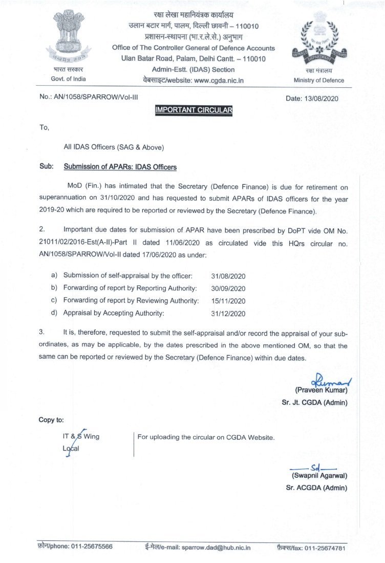 Submission of APARs : IDAS Officers – CGDA