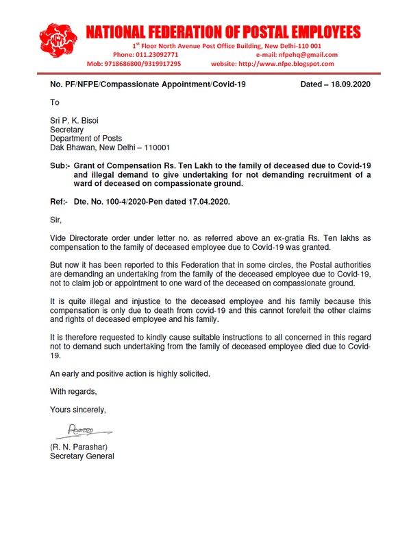 Grant of ex-Gratia 10 lakhs compensation and Compassionate appointment to the Family of deceased due to COVID-19