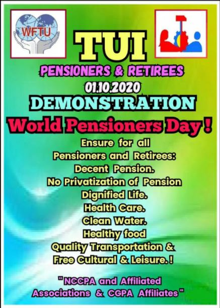 Trade Union International Calls to observe 01.10.2020 the World Pensioners Day and Hold Demonstration!