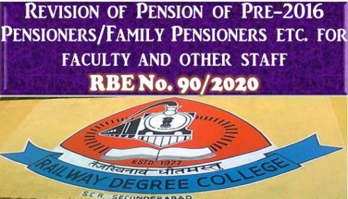 7th CPC Revision of Pension of Pre-2016 Pensioners/Family Pensioners etc. for faculty and other staff in Railway Degree College: RBE No. 90/2020