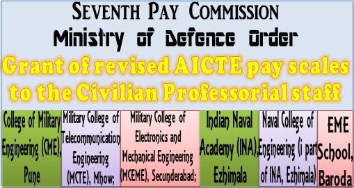 7th Pay Commission – Grant of revised AICTE pay scales to the Civilian Professorial staff of Defence Technical Institutions: MoD Order