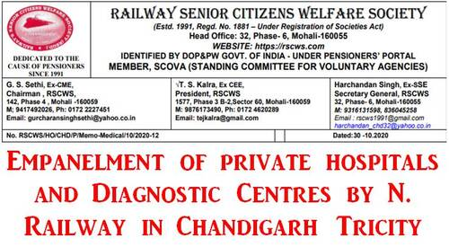 Empanelment of private hospitals and Diagnostic Centres by N. Railway in Chandigarh Tricity