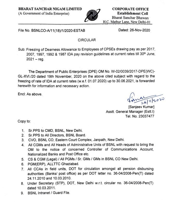 Freezing of Dearness Allowance to Employees of CPSEs – IDA pay revision guidelines at current rates till 30th June, 2021