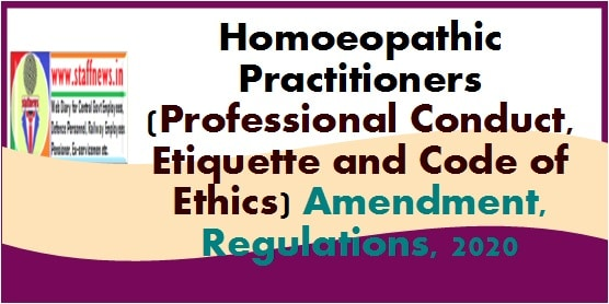 Homoeopathic Practitioners (Professional Conduct, Etiquette and Code of Ethics) Amendment, Regulations, 2020