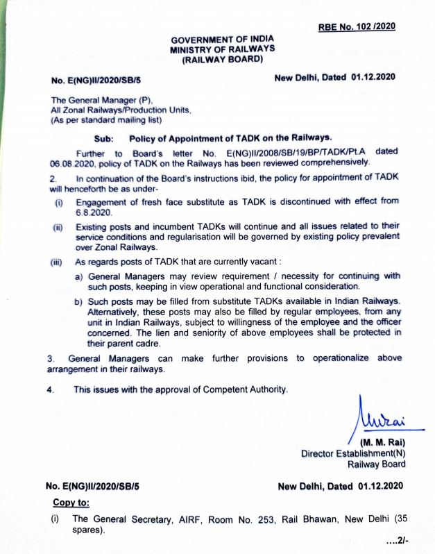 Policy of Appointment of TADK on the Railways: Revised instructions vide RBE No. 102 /2020