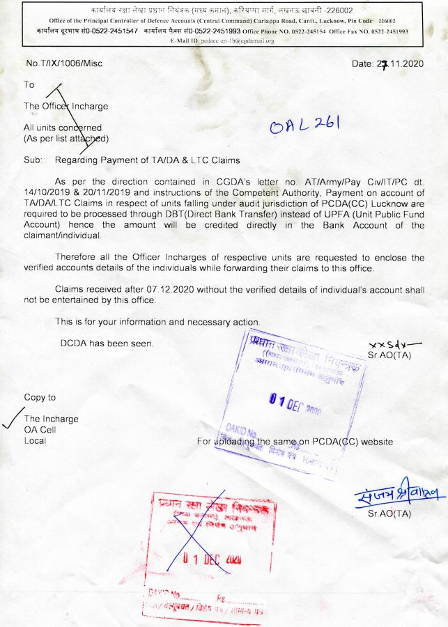 Regarding Payment of TA/DA & LTC Claims : Instructions by PCDA (CC)
