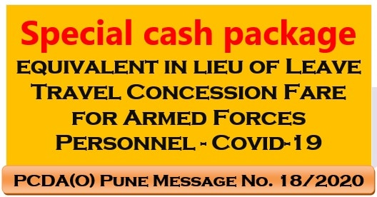 Special cash package equivalent in lieu of Leave Travel Concession Fare for Armed Forces Personnel – Covid-19