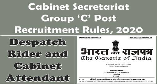 Cabinet Secretariat Despatch Rider and Cabinet Attendant, Group 'C' Post Recruitment Rules, 2020