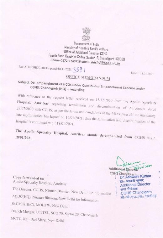 CGHS Chandigarh – De-empanelment of Apollo Specialty Hospital, Amritsar wef 18 Jan 2021