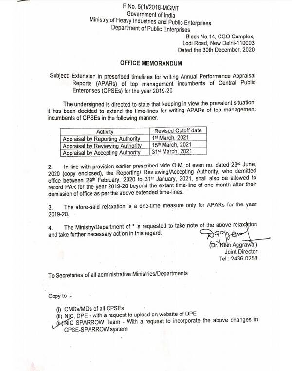 Extension in prescribed timelines for writing APARs of top management incumbents of CPSE for the year 2019-20