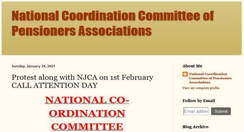 Freezing of Dearness Relief, 7th CPC Option No. 1 Pension fitment formula issues in NCCPA Charter of Demands to protest along with NJCA on 1st February CALL ATTENTION DAY