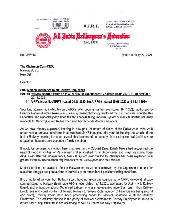 Medical Insurance to all Railway Employees: AIRF writes to Railway Board