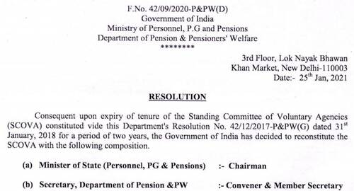 Reconstitution of Standing Committee of Voluntary Agencies (SCOVA) being reconstituted through this Resolution dated 25.01.2021 will be of 2 years