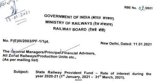 State Railway Provident Fund – Rate of interest from 1st Jan, 2020 to 31st Mar, 2021: RBE No. 02/2021