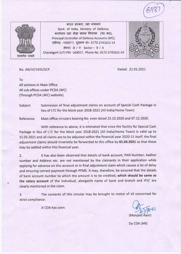 Submission of final adjustment claims on account of Special Cash Package in lieu of LTC for the block year 2018-2021 (All India/Home Town)