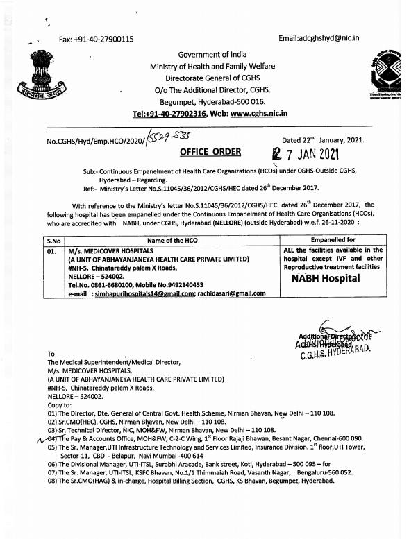 Medicover Hospitals Nellore: Empanelment under CGHS Hyderabad wef 27 Jan 2021