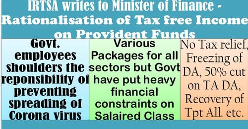 Rationalisation of Tax free Income on Provident Funds: IRTSA writes to FinMin showing displeasure on freezing of DA, recovery of Tpt Allowanace etc.