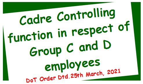 Cadre Controlling function in respect of unabsorbed Group C and D employees working in various Telecom Circles